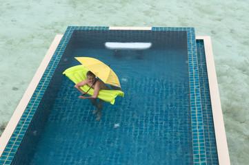 Fun at pool under the rain