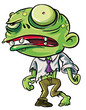 Cartoon illustration of a ghoulish undid green zombie
