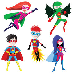 Superhero cartoon vector characters