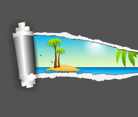 Torn paper with island in opening background