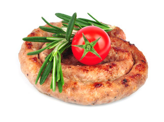 Delicious grilled sausages with rosemary