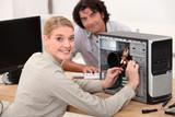 portrait of a female technician