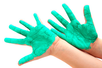 two painted colorful hands against white