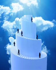 Tiny people climbing spiral tower