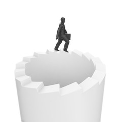 businessman walking on endless stairs