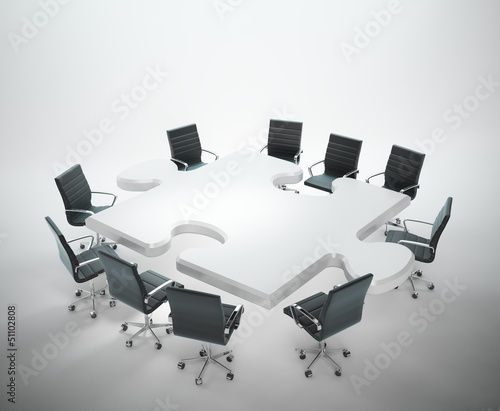 Meeting room with a puzzle shaped table