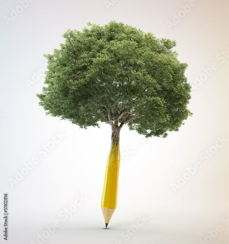 Tree growing out of a pencil