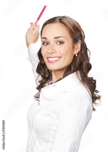 Businesswoman showing, isolated on white