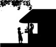 Silhouette of a boy who buys ice cream at an ice cream shop