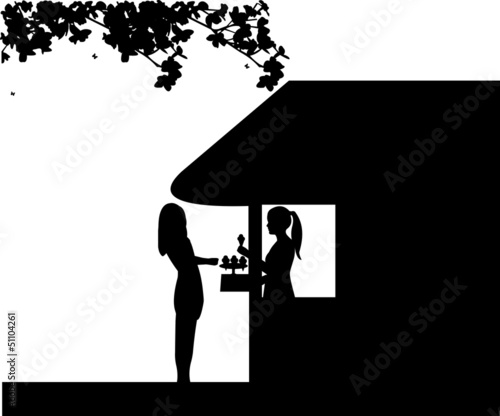 Silhouette of a woman who buys ice cream at an ice cream shop