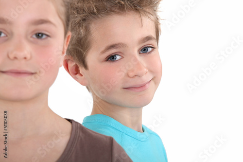Head and shoulders of two children