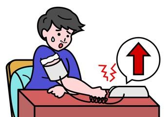 血圧が上った男性