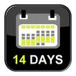 Schwarzer Button: 14 Tage
