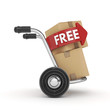 Hand Truck with cardboard box and free text-isolated