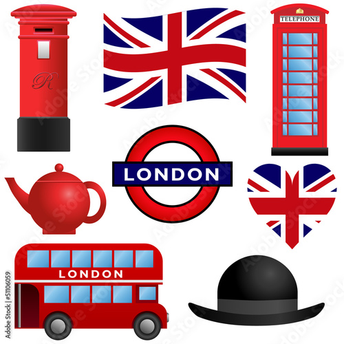Set of travel icons, London and the United Kingdom