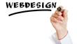 Hand schreibt das Wort Webdesign
