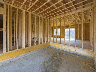 Interior house construction framing