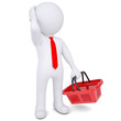 Pensive 3d white man with a shopping basket