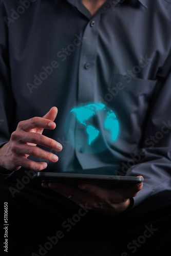 Businessman holding a tablet computer