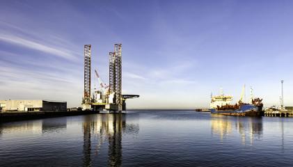 Offshore drilling rig in Esbjerg harbor, Denmark