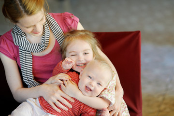 Young mother and her two daughters
