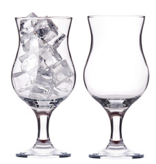 empty and full of ice glass