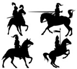 knights and horses fine vector silhouettes