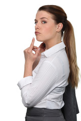 Businesswoman sulking