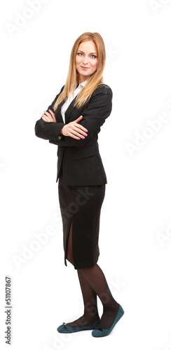 Portrait of teacher woman, isolated on white