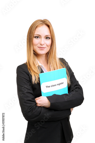 Portrait of teacher woman with class register, isolated on