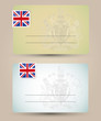 business card with flag and coat of arms of Great Britain