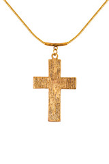 Metal cross on a chain on a white background