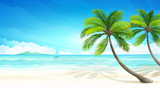 Fototapety Tropical beach. Vector
