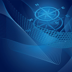 Blue compass on swirls and gradient background