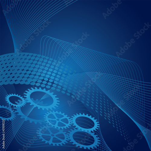 Blue cogs on gradient and swirls background