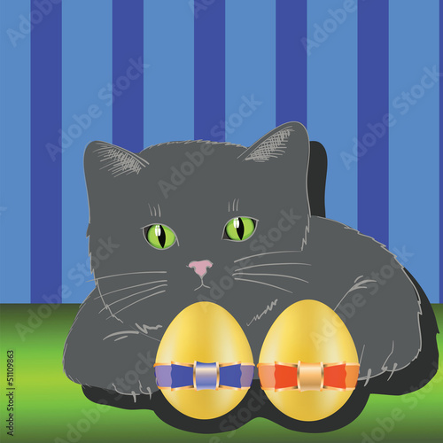 Fotobehang Katten cat and two easter eggs