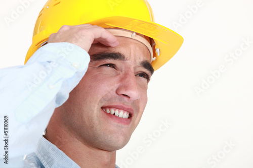 Builder suffering from head ache