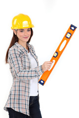 Woman with a spirit level