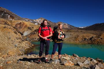 New zealand - Hikers near emerald lake
