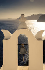 A single bell at Santorini facing Sea