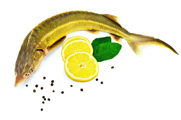 Fish starlet with lemon and leaf