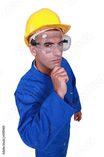 A dubious construction worker.