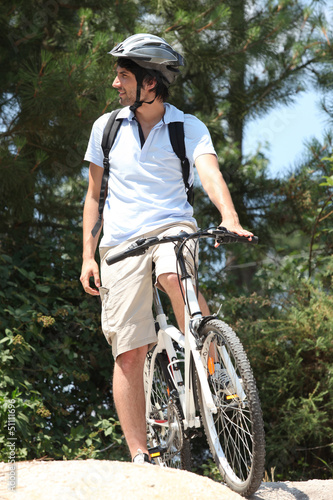 Man on mountain biking day out