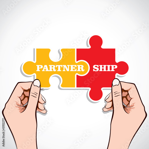 Partnership puzzle piece in hand stock vector