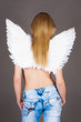 slender girl with angel wings