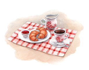 Watercolor illustration of breakfast with croissants and coffee