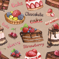 Seamless pattern with watercolor cake illustrations