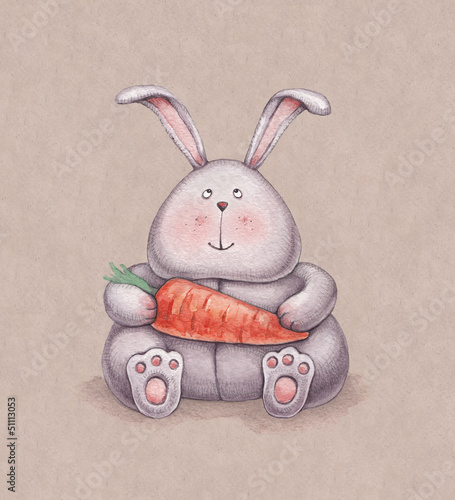 Watercolor illustration of cute bunny toy. Perfect for greeting