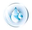 Blue drop in glass globe
