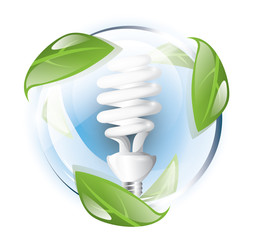 Fluorescent lightbulb in blue glass globe, recycle